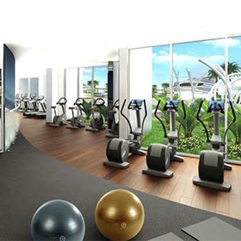 Fitness center with locker room